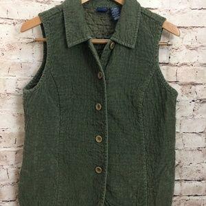 Basic Editions Olive Green Sleeveless Vest Medium